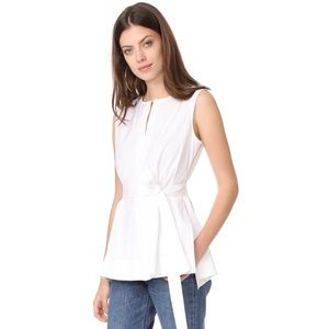 Theory | Desza Sleeveless Belted Top in White